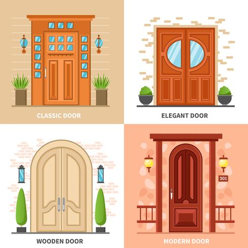 Conceito de Design de portas 2x2 de casa vetor