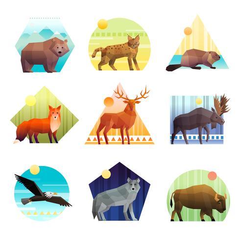 Conjunto de emblema poligonal de animais vetor