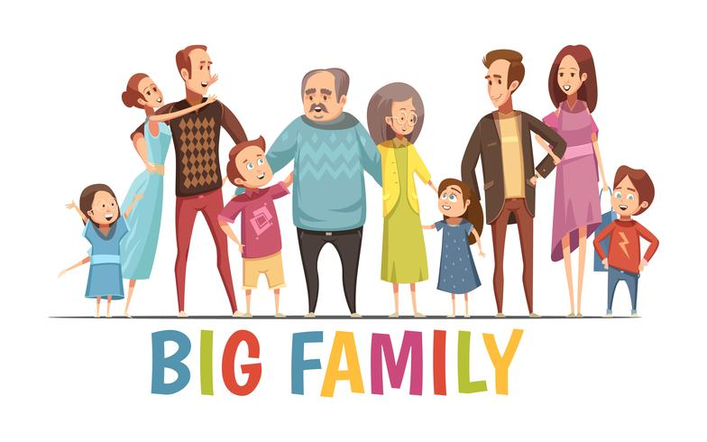 Grande, feliz, harmonioso, família, retrato vetor