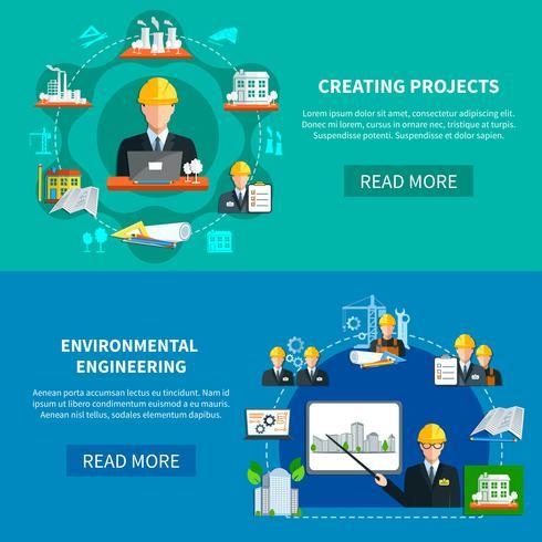 Banners horizontais de desenvolvimento de projetos vetor