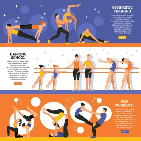 Conjunto de Banners de treinamento de dança e ginástica vetor