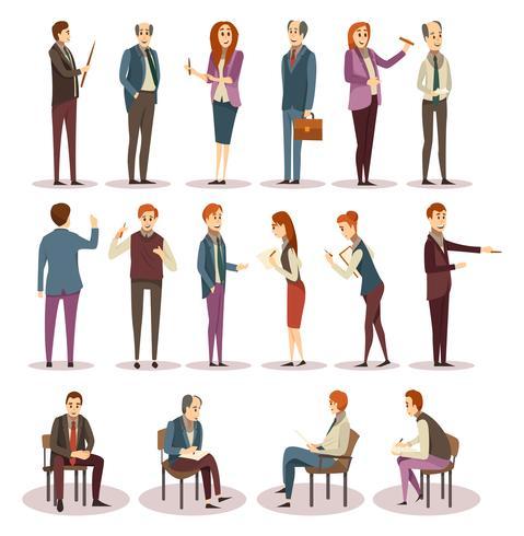 Treinamentos de negócios e conjunto de ícones de Coaching vetor