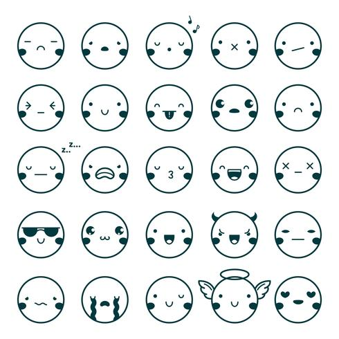 emoji emoticons conjunto preto vetor
