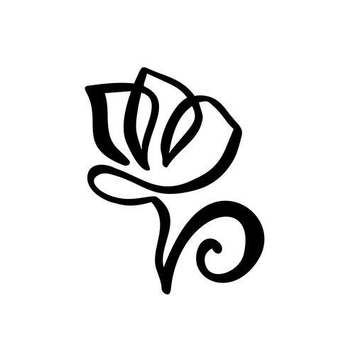 Logotipo da flor tulipa. Mão de linha contínua desenho conceito de vetor caligráfico. Elemento de design floral escandinavo Primavera no estilo minimalista. Preto e branco