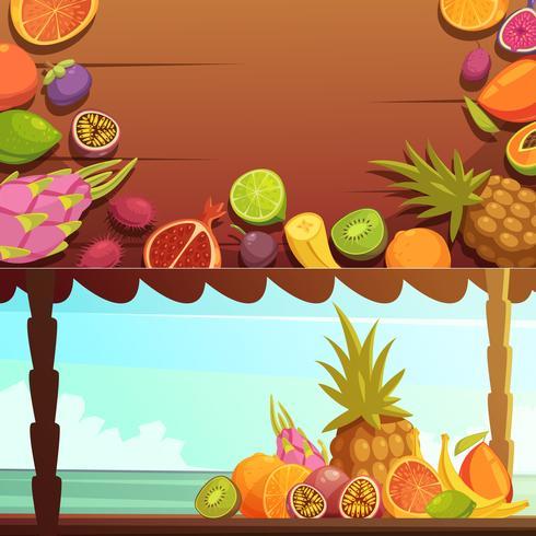 Conjunto de Banners de frutas ilha tropical vetor