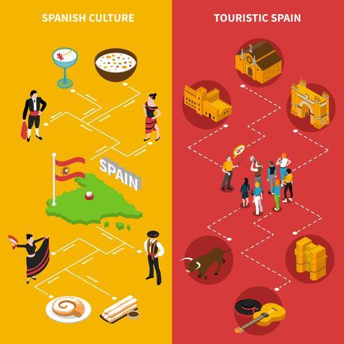 Conjunto de Banners verticais de Espanha vetor