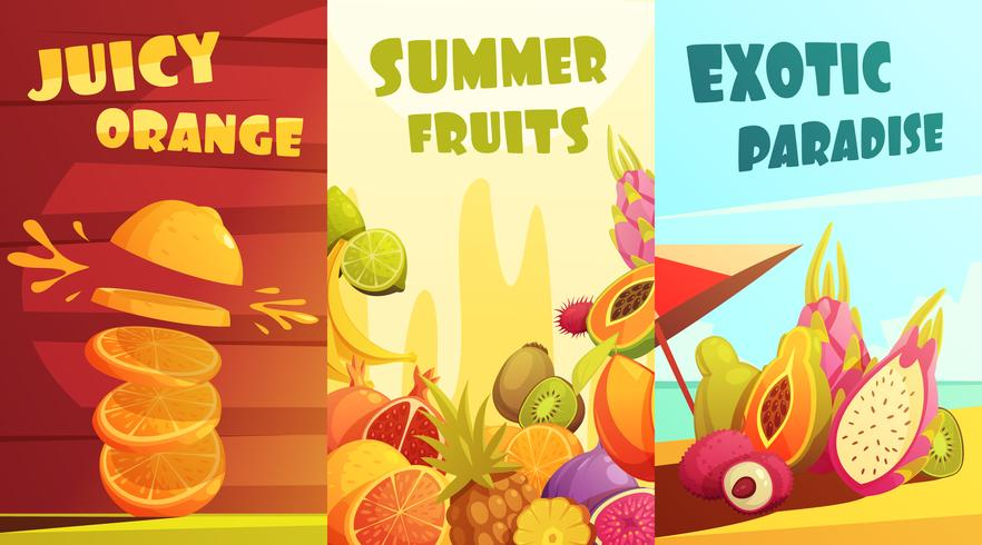Frutas exóticas verticais Banners Cartoon Poster vetor