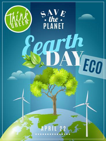 Cartaz da consciência da ecologia do Dia da Terra vetor