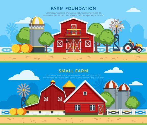 Dois Banners Horizontais Planas Fazenda vetor