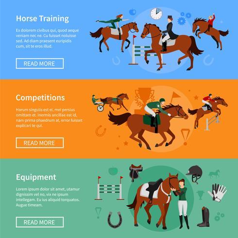 Banners de esporte de aumento de cavalo vetor