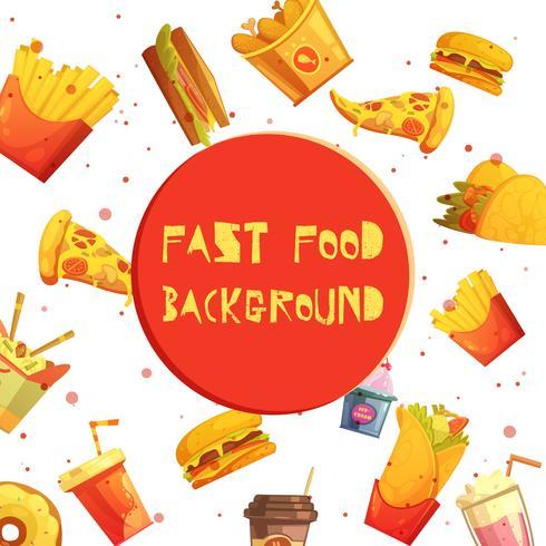 Desenhos animados retros do fundo decorativo do fast food vetor