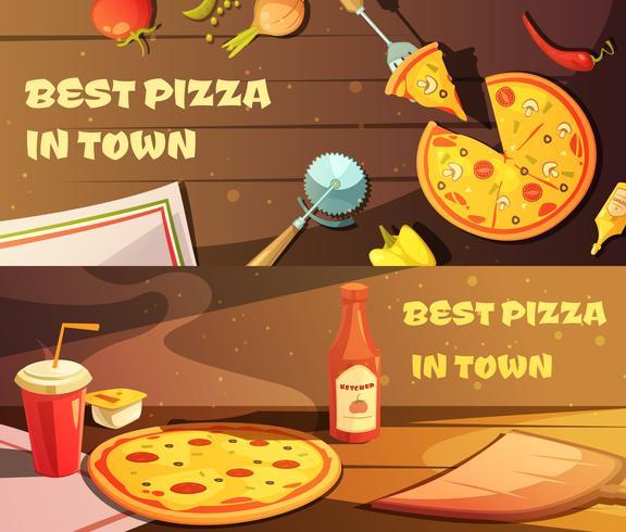 Melhores Banners Horizontais para Pizza vetor