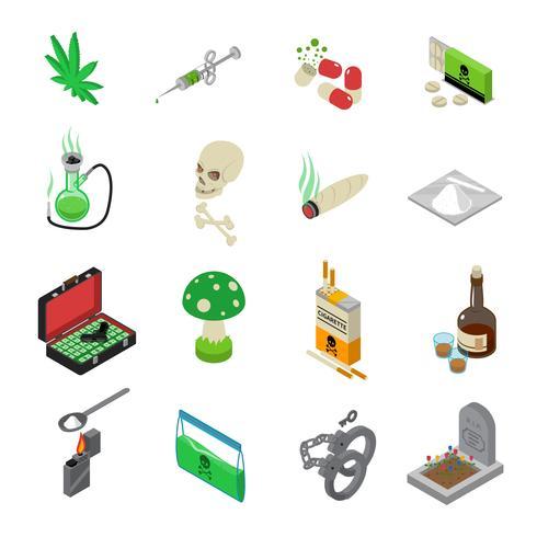 Conjunto de ícones de drogas vetor
