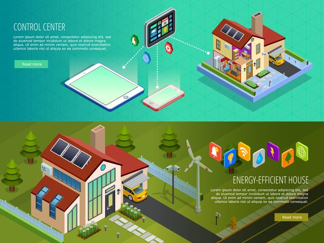 Banners isométricos Smart Home Control 2 vetor