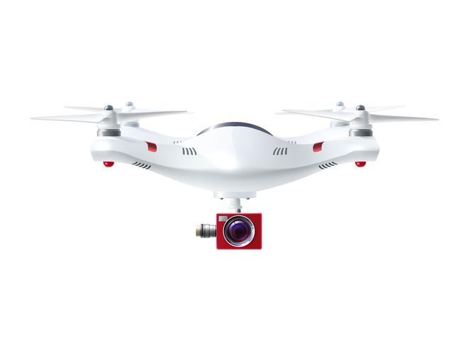 Drone branco com câmera vermelha vetor