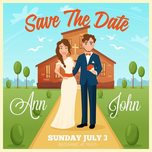 Cartão de convite de casamento vetor