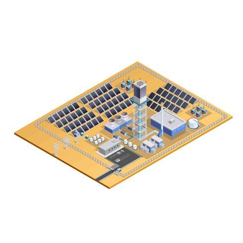 Imagem isométrica de modelo de estação solar vetor