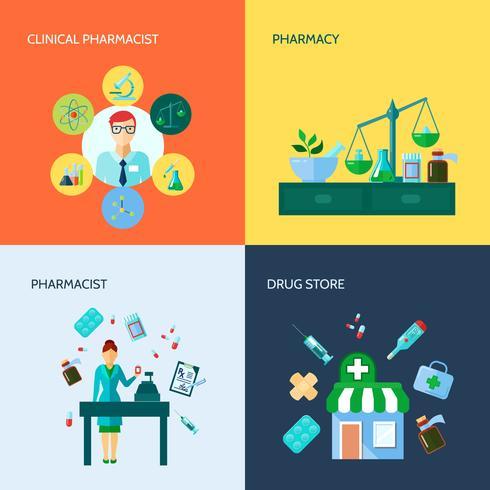 Conjunto de ícones plana de farmacêutico vetor