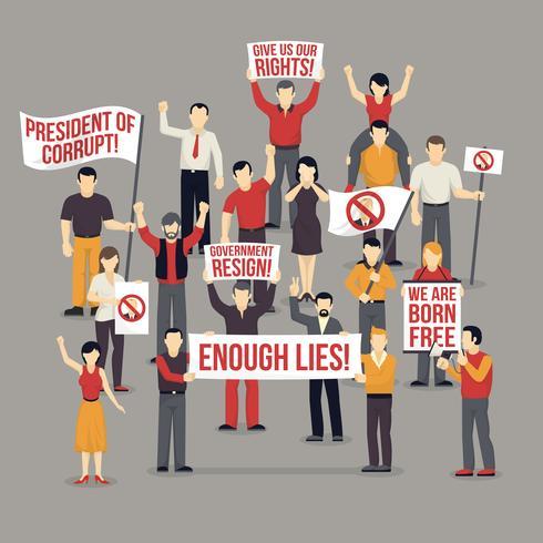 Multidão, protestar, pessoas, Composição vetor