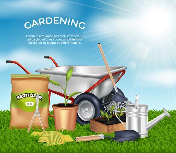 Conjunto de conceito de Design de ferramentas de jardinagem vetor