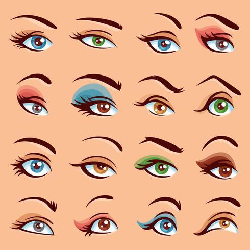 Conjunto de ícones de maquiagem dos olhos vetor