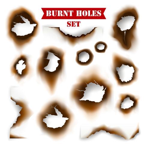 Papel com fundo de buracos queimados vetor