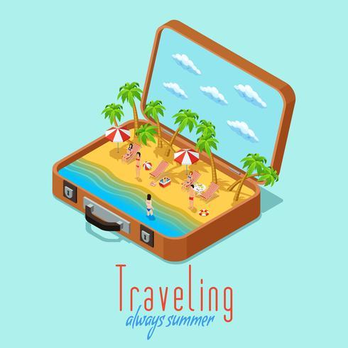 Cartaz de estilo retrô isométrico de viagens de férias vetor