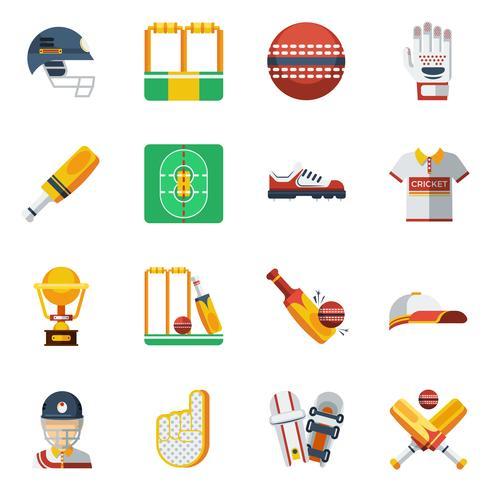 Conjunto de ícones de críquete vetor