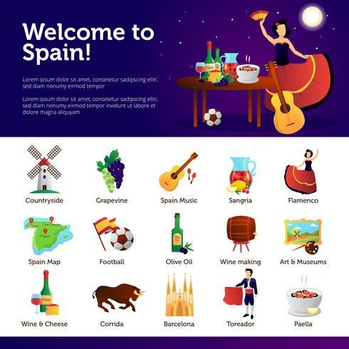Bem-vindo ao cartaz de símbolos de infográfico de Espanha vetor