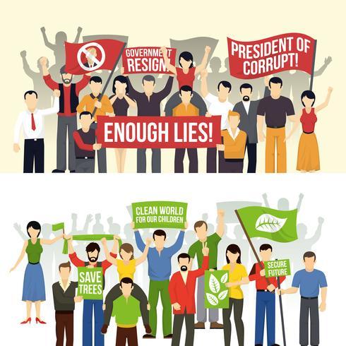 Banners horizontais de demonstrações políticas e ecológicas vetor