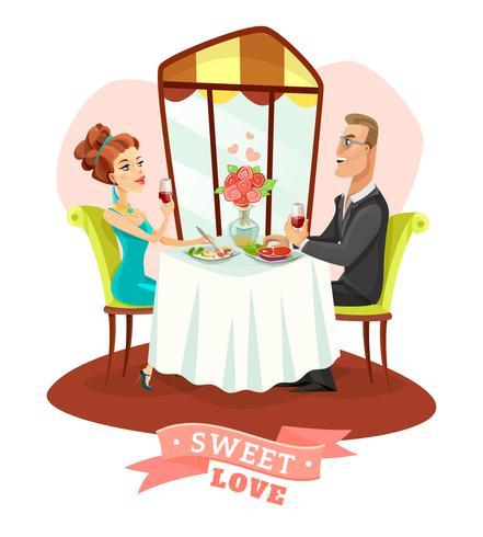 Par, tendo, jantar romântico, em, restaurante vetor
