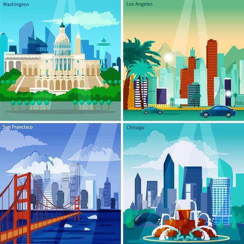 Conjunto de ícones do conceito de Cityscapes americano vetor