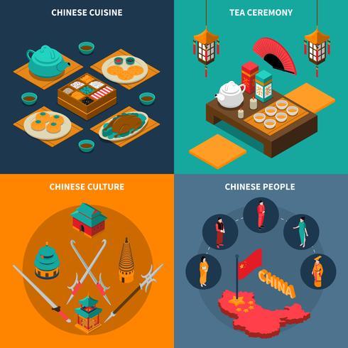 China Turística Isometric 2x2 Icons Set vetor