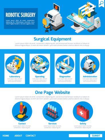 Cirurgia robótica isométrica uma página desenhando vetor