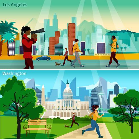American Cityscapes Set Composições vetor