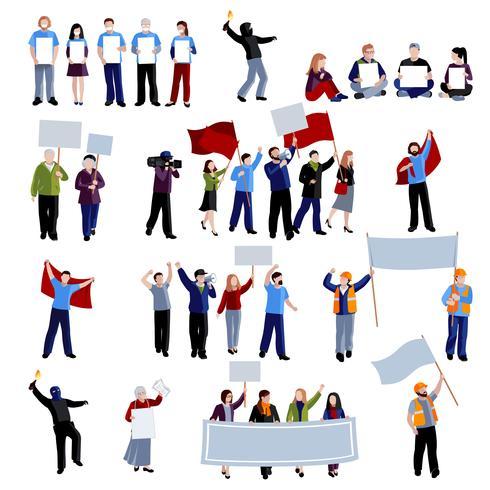 Conjunto de ícones de pessoas de protesto de demonstração vetor