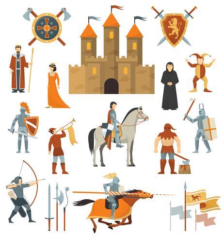 Conjunto de ícones decorativos medievais vetor