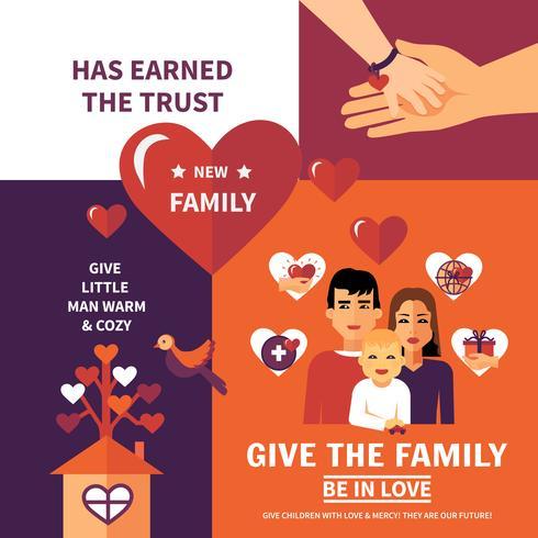 Projeto de composição de Banners planos de adoção de caridade vetor