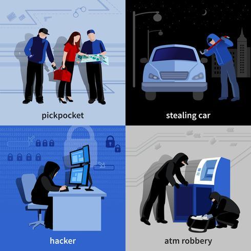 Conjunto de ícones de 2x2 de assaltante vetor