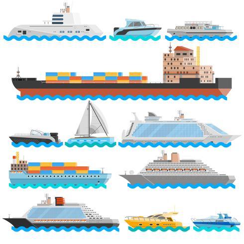 Conjunto de ícones decorativos plana de transporte de água vetor