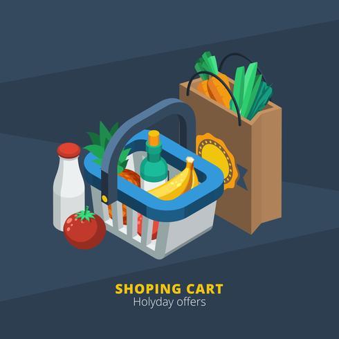 Ícone de supermercado isométrica vetor