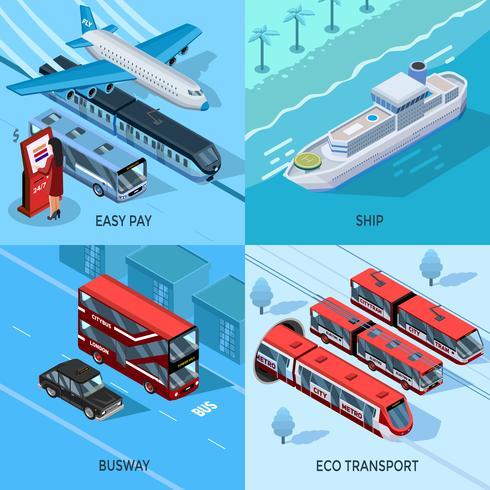 Conceito de Design isométrico 2x2 de transporte de passageiros vetor