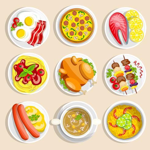 Conjunto de pratos principais vetor