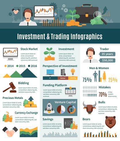 Investimento e negociação de infográficos vetor