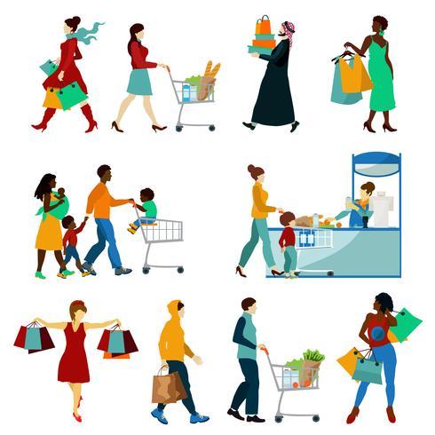 Conjunto de ícones de pessoas compras vetor