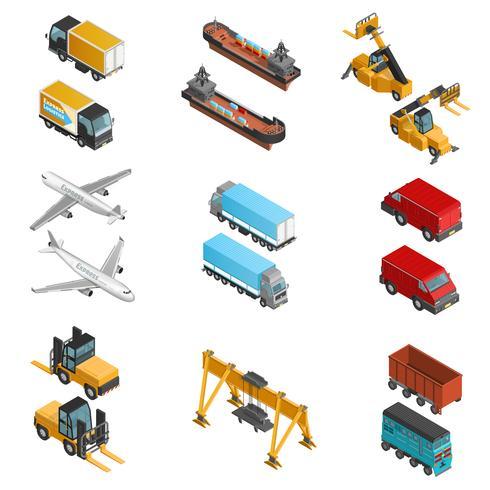 Conjunto de ícones isométrica de transporte de carga vetor