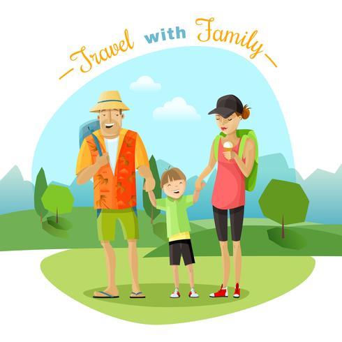 Ilustração de viagem em família vetor