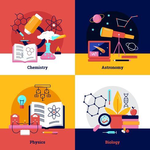 Banners quadrados de ciência vetor