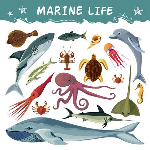 Conjunto de ícones decorativos de habitantes marinhos vetor