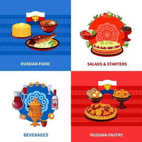 Comida russa 4 ícones quadrados plana vetor